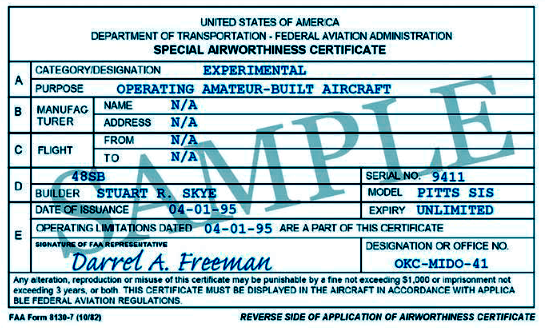 airworthiness certificate