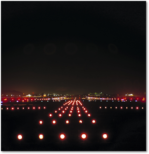 night time landing lights