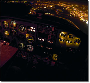 view of cockpit at night