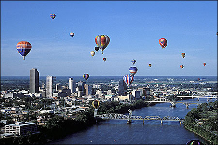 Little Rock skyline during a balloon festival