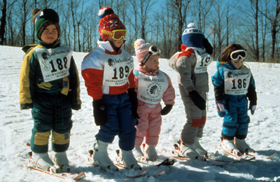 Children Ready for Downhill Ski Race.