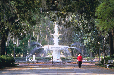 Fountains are just a few of the interesting sights in Savannah's 21 squares.