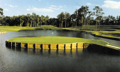 The world-famous 17th hole of THE PLAYERS Sawgrass Stadium Course at Ponte Vedra Beach, Florida.
