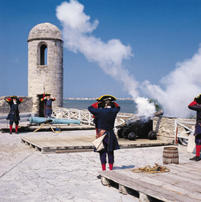 Displays of Spanish military maneuvers at Castillo de San Marcos.